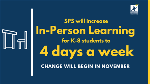 In-person learning for K-8  students will increase to 4 days beginning in November